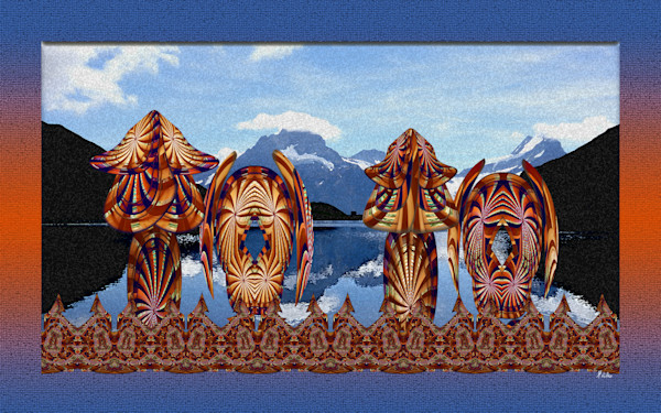 At the Start of the Journey for sale photograph of Swiss Alps at Bachalpsee with abstract images swirled from a cedar tower into digital art