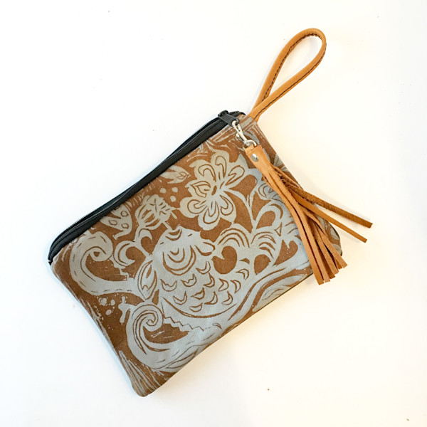leather pouch with koi print