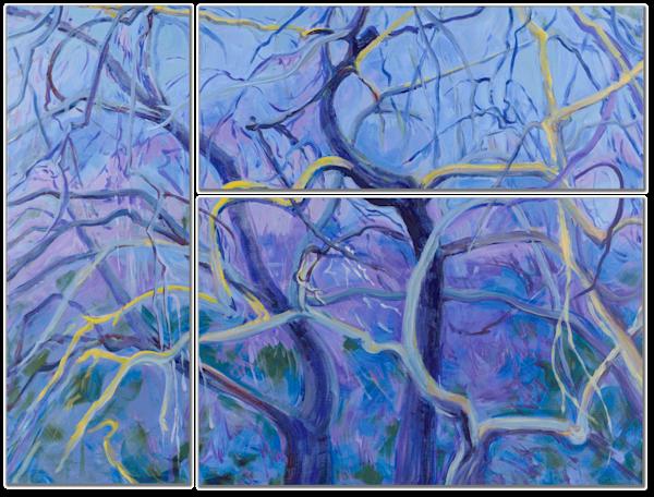 Winter Oaks in Blues and Purples