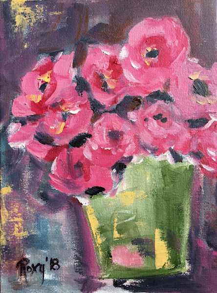 All oil paintings pink roses in a green bucket mightylinksfo