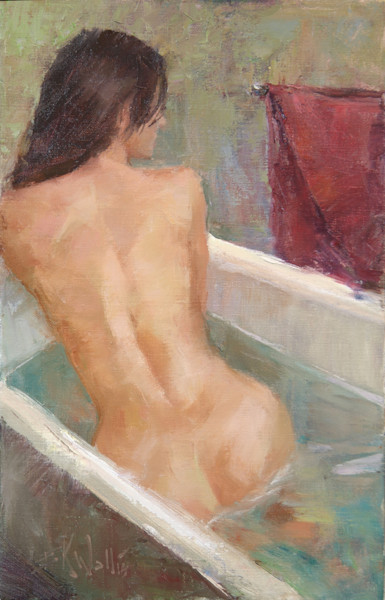 "Print of a nude painting by Eric Wallis titled, ""Warm Bath."""