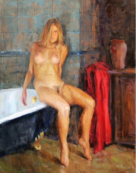 """Print of a nude painting by Eric Wallis titled, """"Washroom, No. 1 'Edge'."""""""