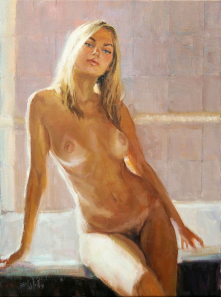 """Print of a nude painting by Eric Wallis titled, """"Washroom No. 3, 'Waiting'."""""""