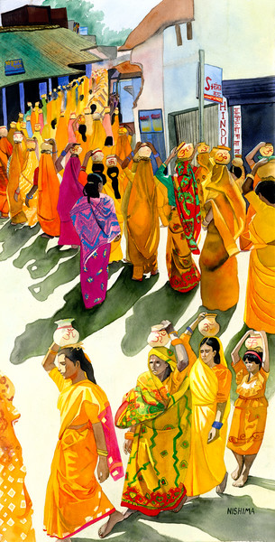 Women in Saffron with Jugs of Sacred Water