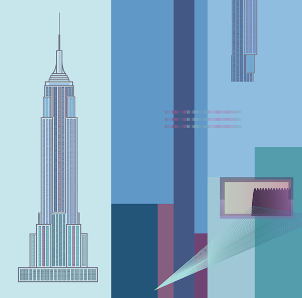 empire state building, architecture, wall art, art, vortex