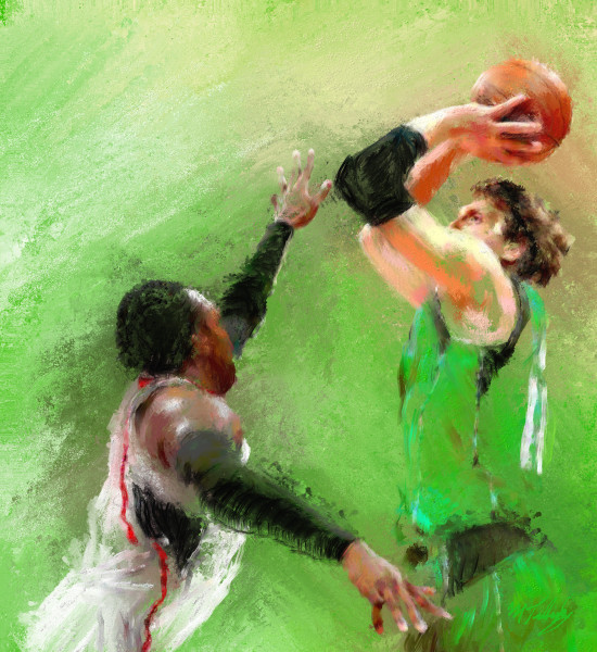 Rousing contested basketball shot.  Paintings and art prints for sale.