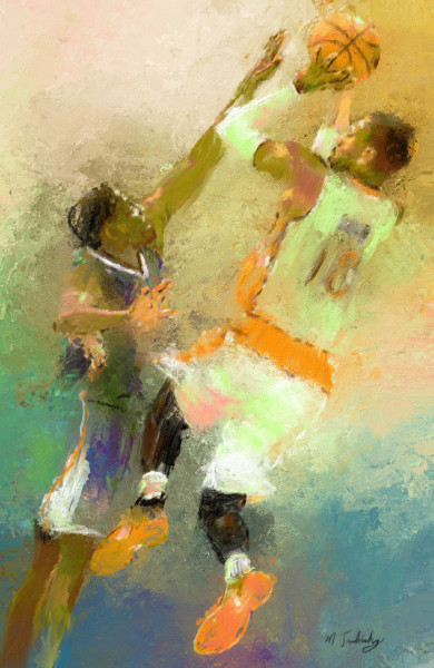 Elevation & shoot Basketball painting | Sports Artist Mark Trubisky | Custom Sports Art