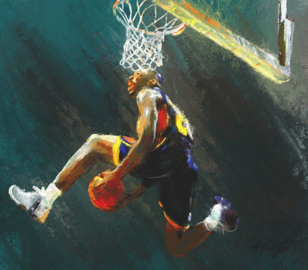 Basketball paintings and art prints of slam dunk action