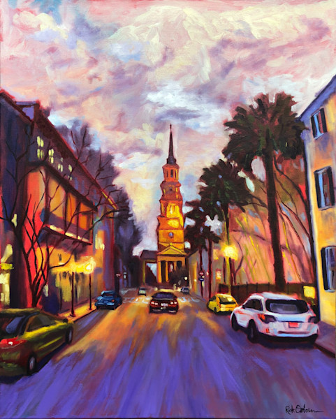 Twilight on Church Street in Charleston
