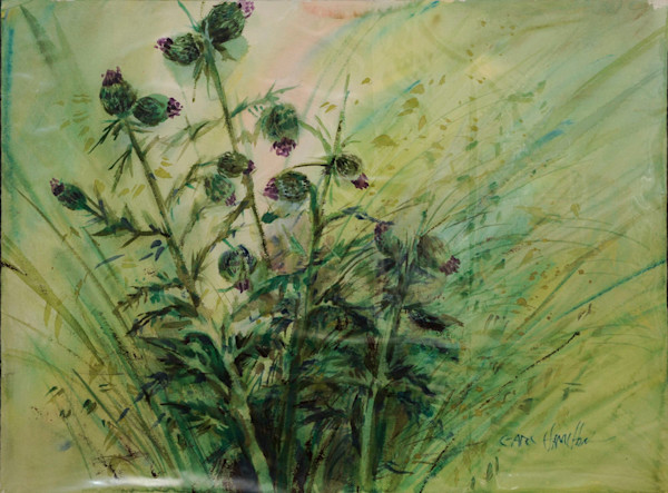 Untitled (Flowers in Green and Purple) - Vintage Early Work by Artist Earl Hamilton