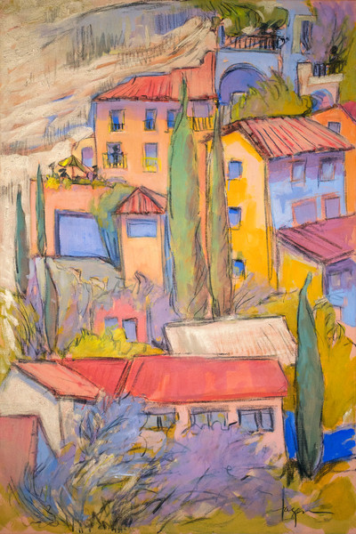 Colorful French Village Art Print on Canvas or Watercolor Paper, Tucked Away by Dorothy Fagan