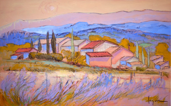 Contemporary French Landscape Painting Lavender Fields Art Print on Canvas, Embrace by Dorothy Fagan