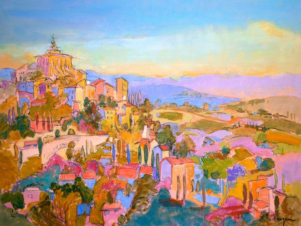 Colorful French Landscape Provence Art Print on Canvas, Sanctuary by Dorothy Fagan