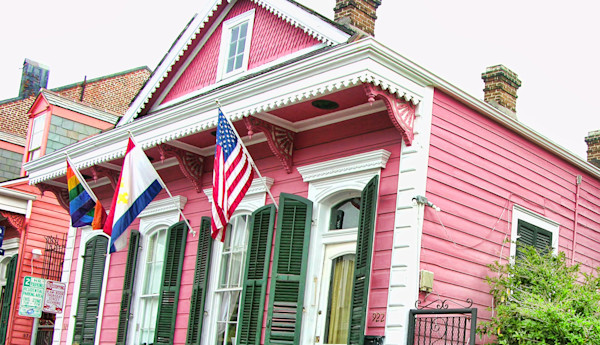 Pink NOLA Rowhouse W Green Shutters