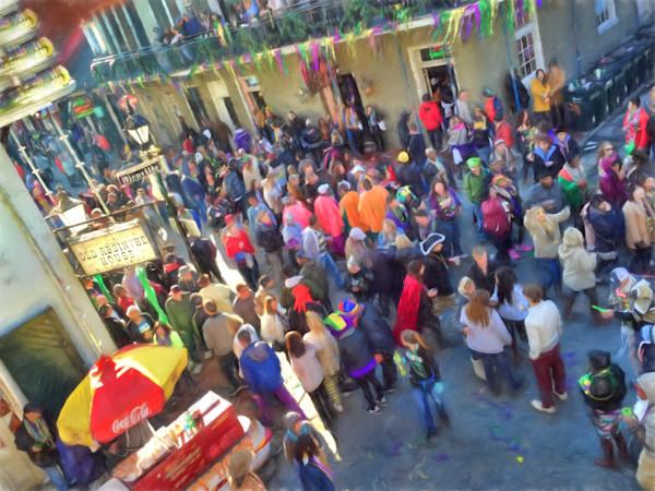 Mardi Gras, Bourbon Street and a lucky dog