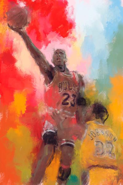 Michael Jordan airborne painting | Sports Artist Mark Trubisky | Custom Sports Art