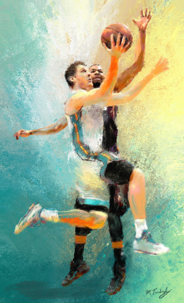 Give and Go action.  Basketball paintings and art prints.