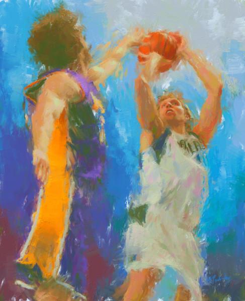 Dirk Nowitzki painting   Sports artist Mark Trubisky   Custom Sports Art