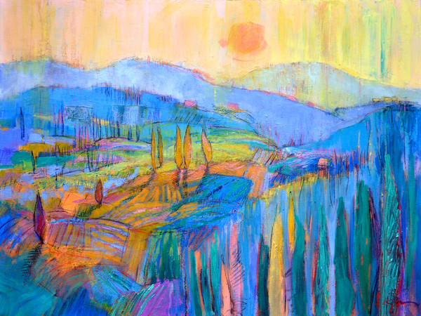 Colorful Abstract Tuscan Landscape Vineyards, Painting Art Print on Canvas by Dorothy Fagan