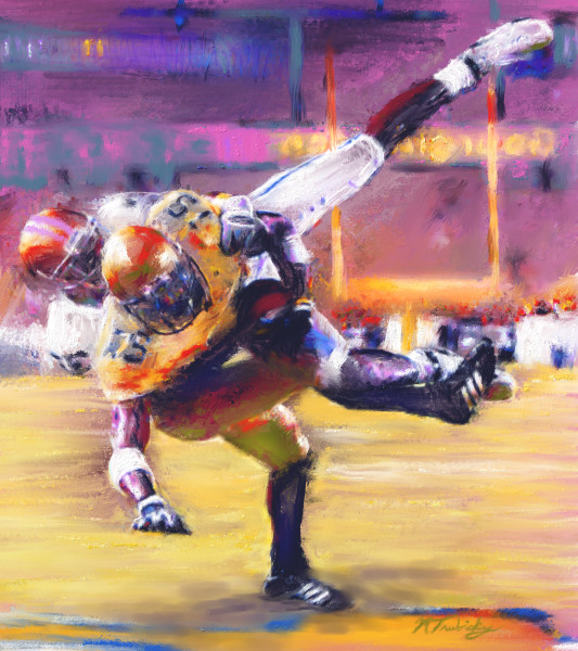 Saving tackle Football painting | Sports Artist Mark Trubisky | Custom Sports Art