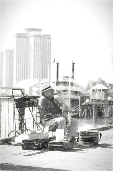 Jazz Guy at the River in Charcoal