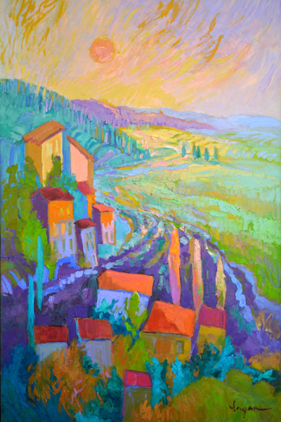 Colorful French Landscape Painting, Lavender Sunset, Original Oil Painting by Dorothy Fagan