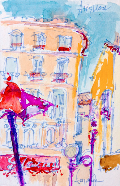 Colorful French Street Scene Watercolor Painting Art Print Pink Passion Umbrella by Dorothy Fagan