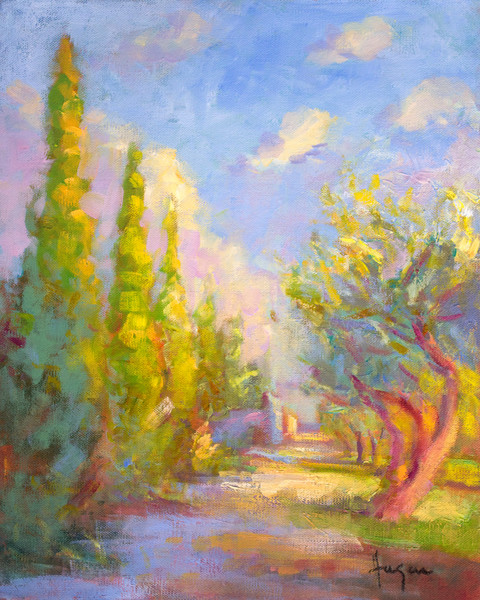 Provence Garden Landscape Painting Art Print on Canvas or Watercolor Paper by Dorothy Fagan