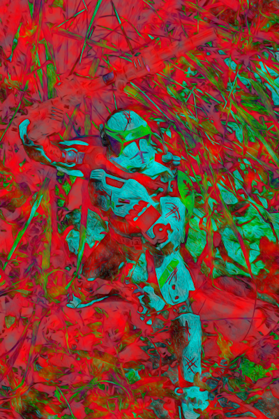 Blue Trooper, Red Night Art | Oz Fine Art Studio