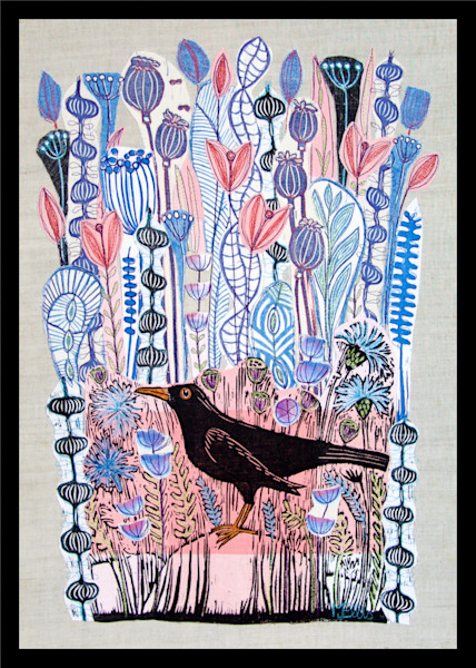 blackbird with all pink and blue pastel flowers, a linocut collage by Mariann Johansen-Ellis, art , paintings