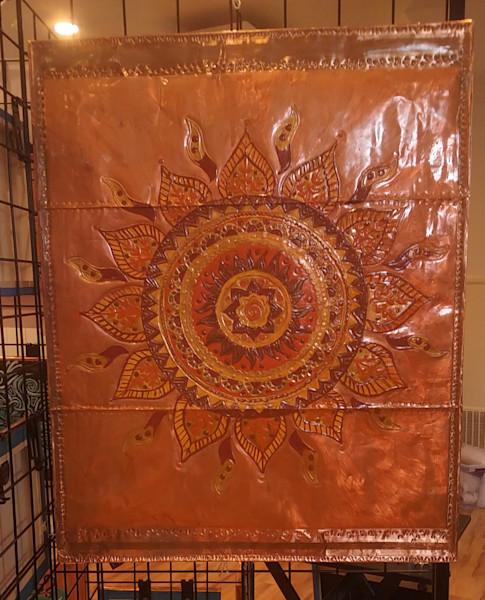 Large Copper Sun Mandala Repoussé Signature Piece.