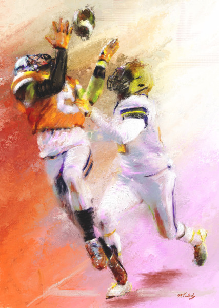 Leap & catch Football painting | Sports artist Mark Trubisky | Custom Sports Art
