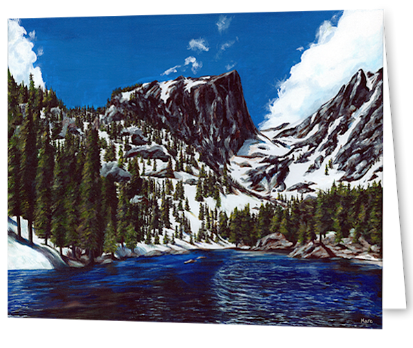 Greeting cards in an 8 pack set printed with original artwork of Dream lake by Mary Anne Hjelmfelt