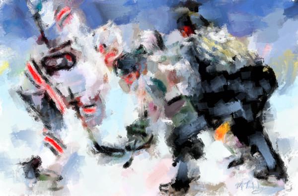 Hockey face-off painting   Sports Artist Mark Trubisky   Custom Sports Art