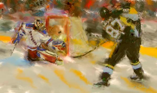 Hockey shot painting   Sports Artist Mark Trubisky   Custom Sports Art