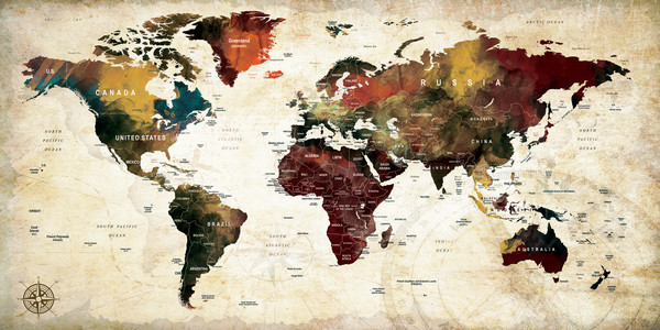 Colorful water color world map art and paintings printed on water color world map 11 gumiabroncs Images
