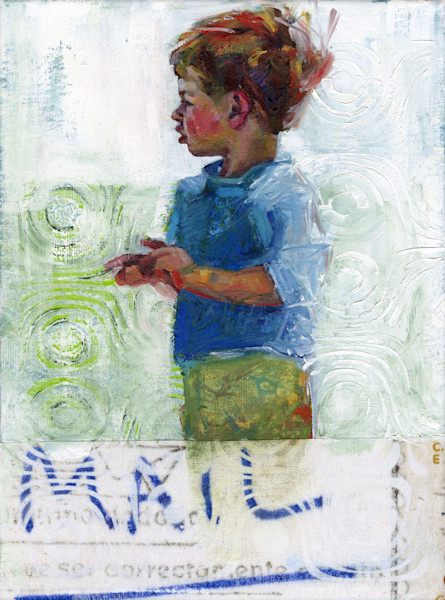 Painting of a little boy looking at the water