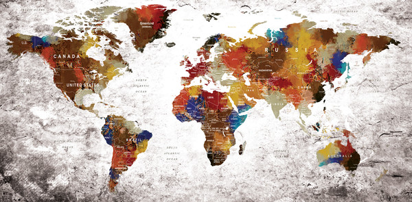 Colorful Water Color World Map Art And Paintings Printed On - Colorful world map painting