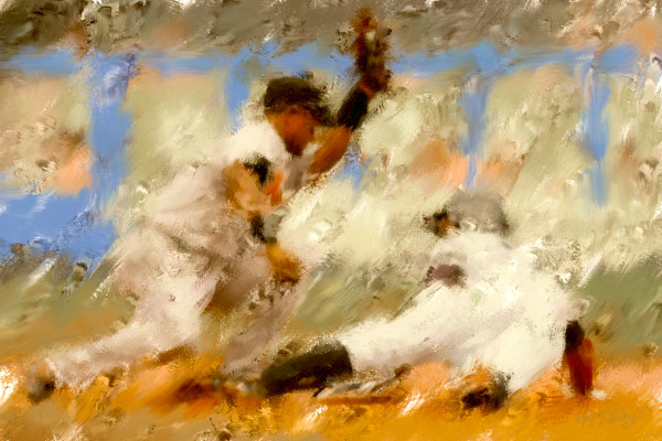 Safe & slide Baseball painting   Sports Artist Mark Trubisky   Custom Sports Art