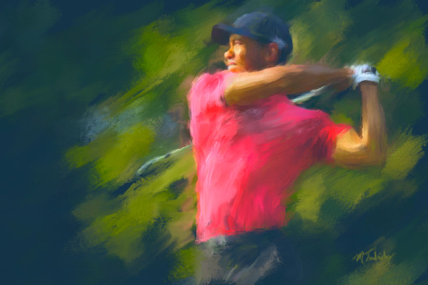 Tiger Woods painting | Sports artist Mark Trubisky | Custom Sports Art