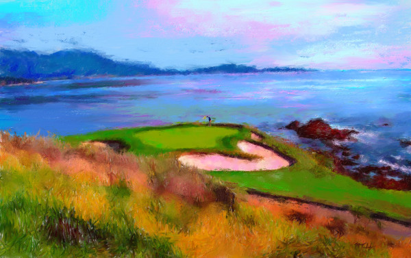 Pebble Beach golf painting | Sports artist Mark Trubisky | Custom Sports Art