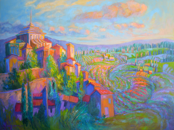 Colorful French Landscape Art Print on Canvas Lavande Magic by Dorothy Fagan