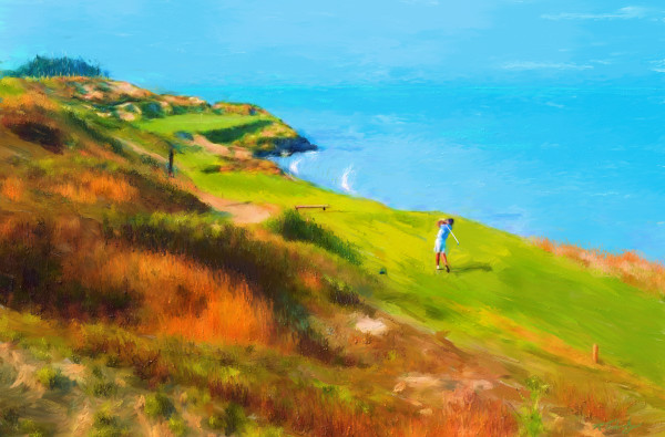 Whistling Straits golf painting | Sports artist Mark Trubisky | Custom Sports Art