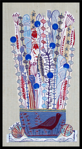 a blue and red denim based linocut collage by printmaker Mariann Johansen-Ellis, with birds and flowers in a bowl. art, paintings