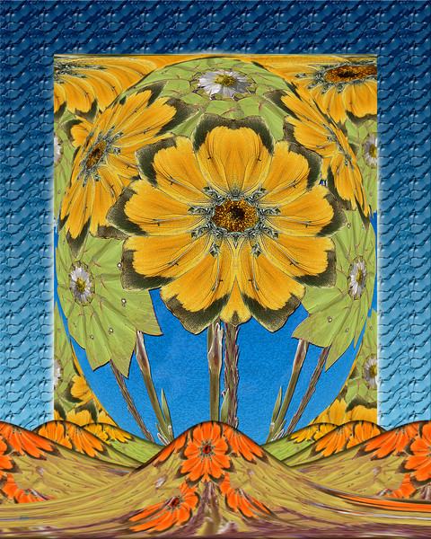 Butterfly Sunflowers print of photographs transformed into digital art for sale by Maureen Wilks