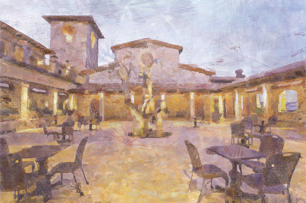 Jacuzzi wines, Wine art, Winery art, fine wine art Courtyard of the Jacuzzi Winery, Print by Peter McClard at VectroArtLabs.com
