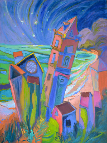 Whimsical Colorful Italian Architecture Painting Prints Falling Stars by Dorothy Fagan