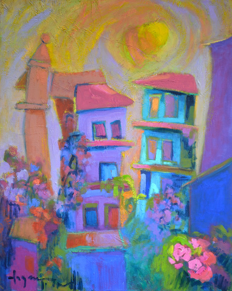 Colorful Contemporary Architecture Print on Canvas, Garden of the Heart by Dorothy Fagan