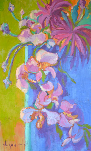 Abstract Orchids with Chrysanthemum Still Life Contemporary Art Print on Canvas by Dorothy Fagan