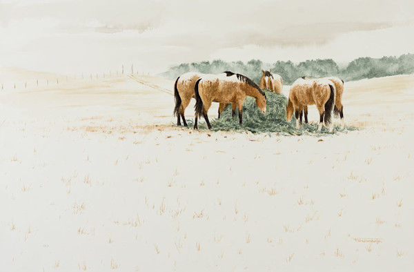 Raymond Wattenhofer Original Watercolor Art Winter Flurries